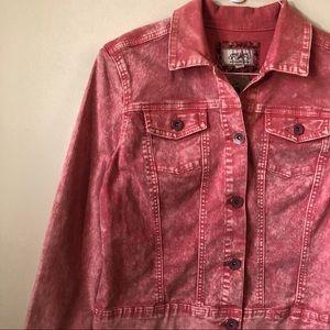 Jackets & Blazers - Pink Acid Washed Denim Jacket Large